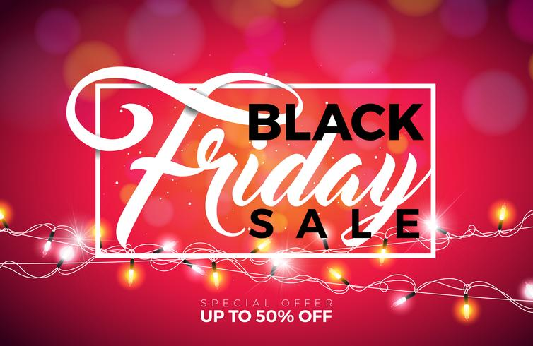 Black Friday verkoop vectorillustratie met verlichting Garland op glanzende achtergrond. Promotie ontwerpsjabloon voor spandoek of poster.