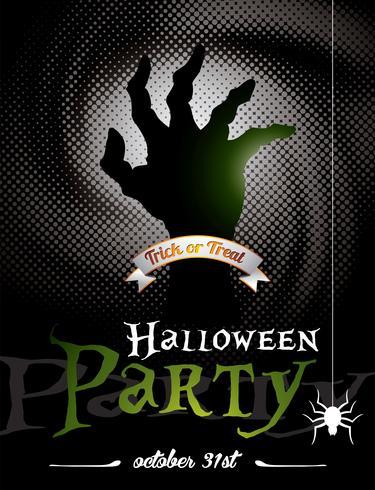 Vektor illustration på ett Halloween Party tema på mörk bakgrund.