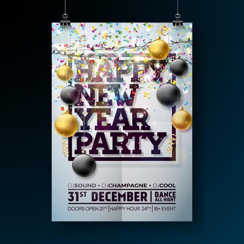 Ejemplo de la plantilla del cartel de la celebración del partido del Año Nuevo con diseño de la tipografía, la bola de cristal y el confeti que cae en fondo colorido brillante. Vector Holiday Premium invitación Flyer o Promo Banner.