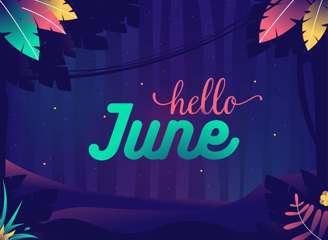 """""""Hej juni"""" Sommarnatt Jungle med växter och stjärnor"""