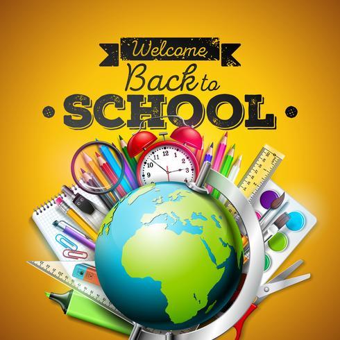 Zurück zu Schuldesign mit buntem Bleistift, Radiergummi und anderen Schulartikeln auf gelbem Hintergrund. Vector Illustration mit Kugel, Wecker, Lupe, Tafel