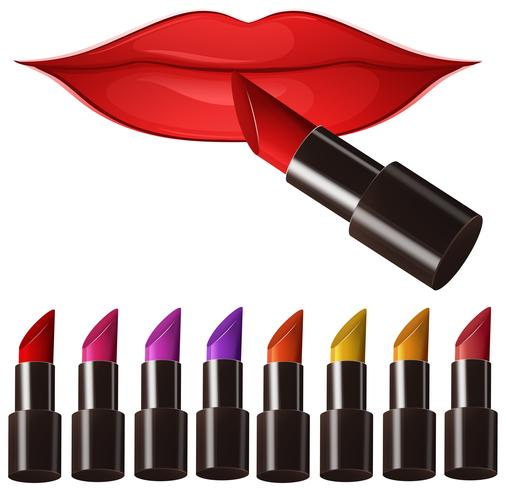 Woman lips and many color lipsticks