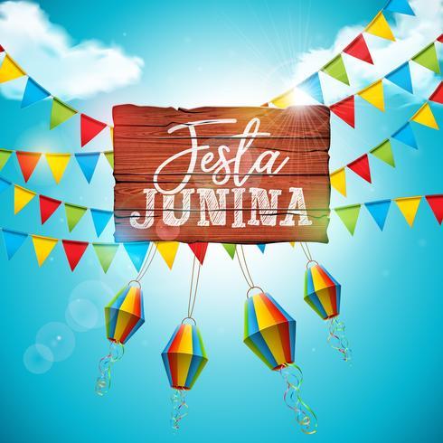 Ejemplo de Festa Junina con las banderas del partido y la linterna de papel en fondo azul de cielo nublado. Vector Brasil Diseño Festival de junio para la tarjeta de felicitación, invitación o cartel de vacaciones.