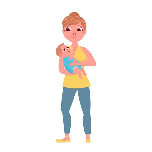 Mother holding a small child