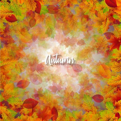 Illustrazione di autunno con foglie che cadono e scritte su sfondo chiaro. Disegno vettoriale autunnale per Greeting Card, Banner, Flyer, Invito, brochure o poster promozionale.