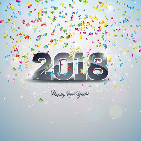 Happy New Year 2018 Illustration with 3d Number and Ornamental Ball on Shiny Confetti Background. vector