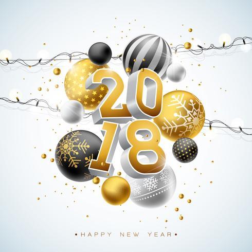 Ilustración 2018 de la Feliz Año Nuevo con el número del oro 3d, la guirnalda ligera y la bola ornamental en el fondo blanco. Vector de diseño de vacaciones para la tarjeta de felicitación Premium, invitación del partido o banner promocional.
