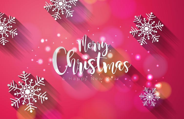 Vektor god jul och gott nytt år illustration på glänsande snöflinga bakgrund med typografi design.