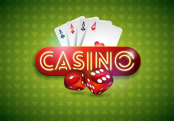 Vector illustration on a casino theme with shiny neon light letter and poker cards on green background. Gambling design for greeting card, poster, invitation or promo banner.