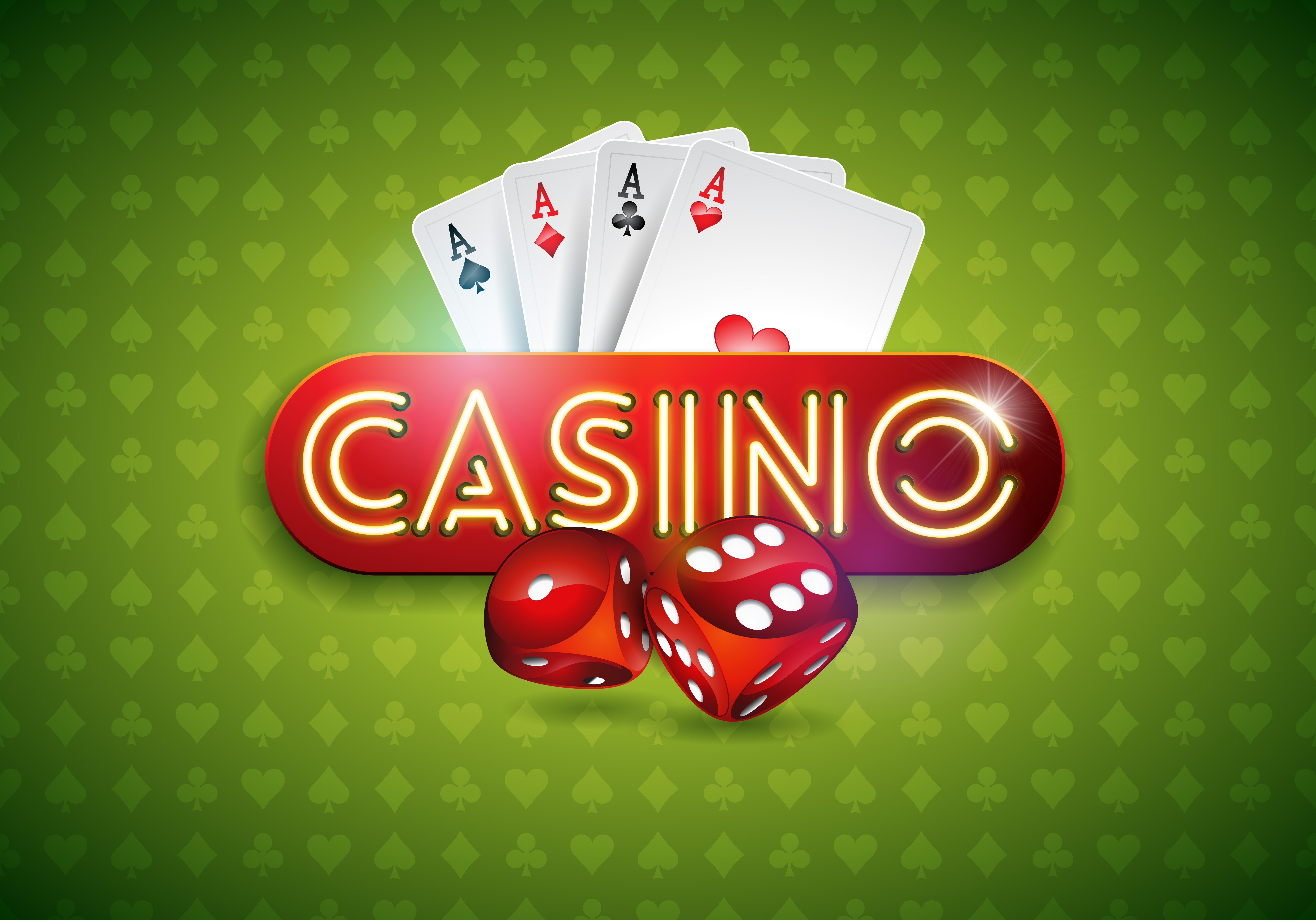 vector illustration on a casino theme with shiny neon