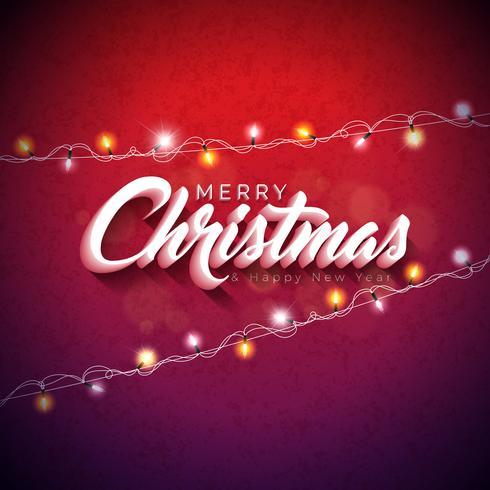 Ejemplo de la Feliz Navidad del vector con diseño de la tipografía 3d y guirnalda ligera del día de fiesta en fondo rojo brillante. Feliz año nuevo diseño.
