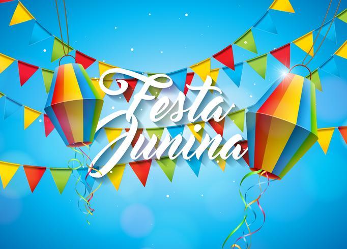 Festa Junina-illustratie met partijvlaggen en papieren lantaarn op gele achtergrond. Vector Brazilië juni Festival ontwerp voor wenskaart, uitnodiging of vakantie Poster.
