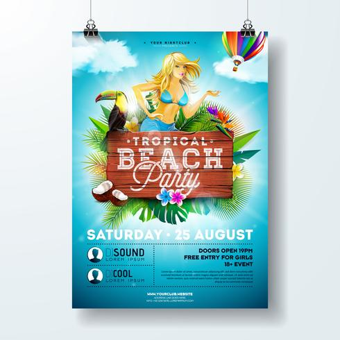 Vector Summer Beach Party Flyer Design with sexy young girl and typographic elements