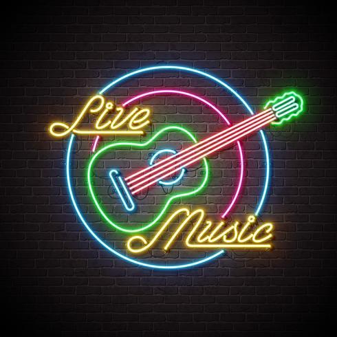 Leef muziekneonteken met gitaar en brief op bakstenen muurachtergrond. Ontwerpsjabloon voor decoratie, dekking, flyer of promotiepartij poster.