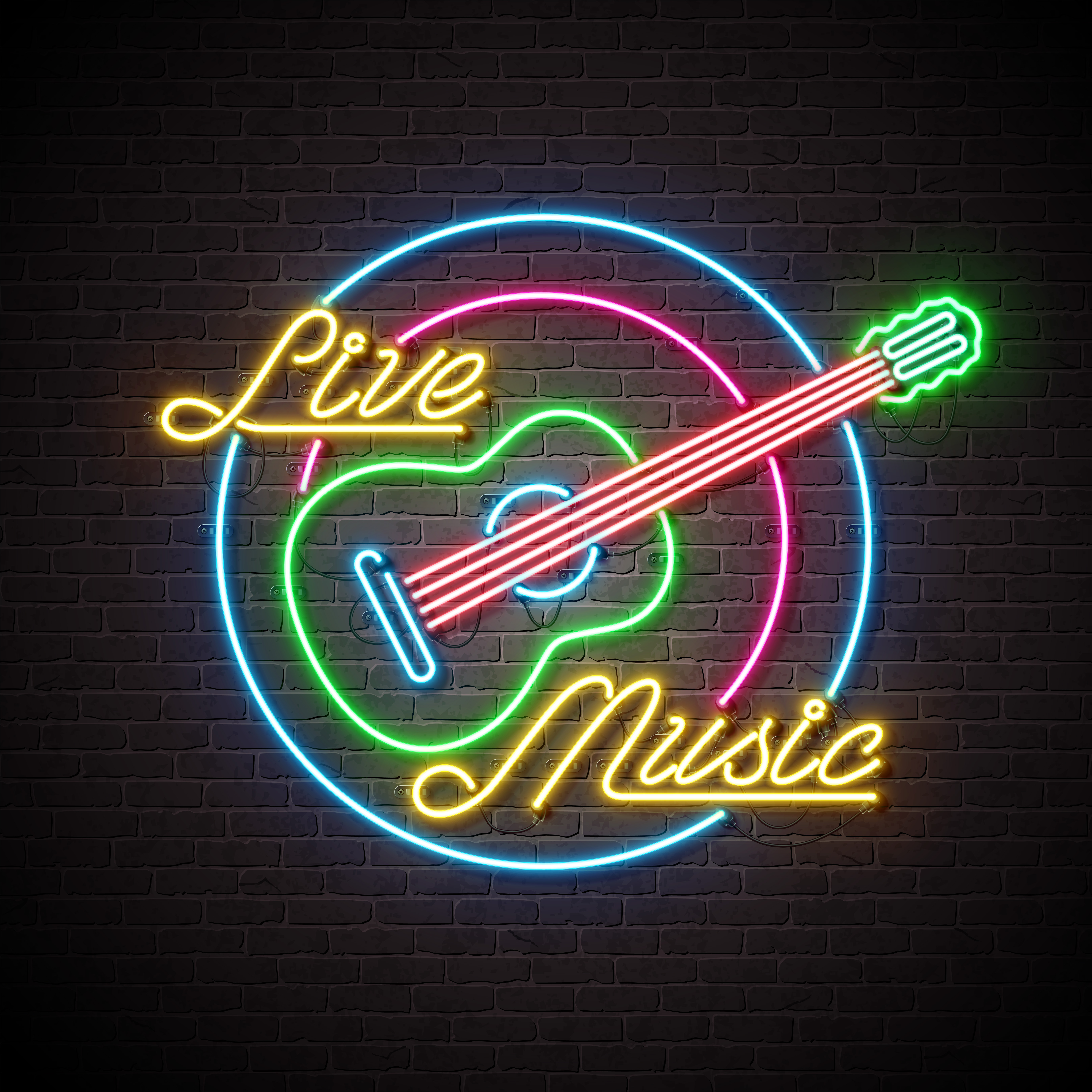 neon music live flyer sign background wall letter guitar template vector brick cover poster party musical decoration promotional notes note