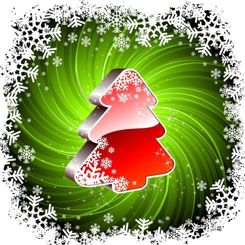 Vector Feiertagsillustration mit glänzendem Baum 3d auf grünem Hintergrund.