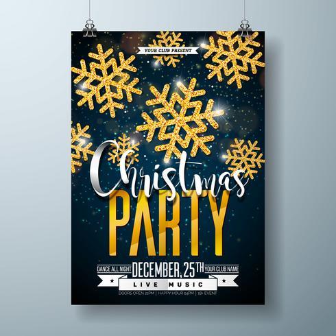 Feliz plantilla del diseño del cartel de la fiesta de Navidad del vector con los elementos de la tipografía del día de fiesta y el copo de nieve brillante del oro en fondo oscuro.