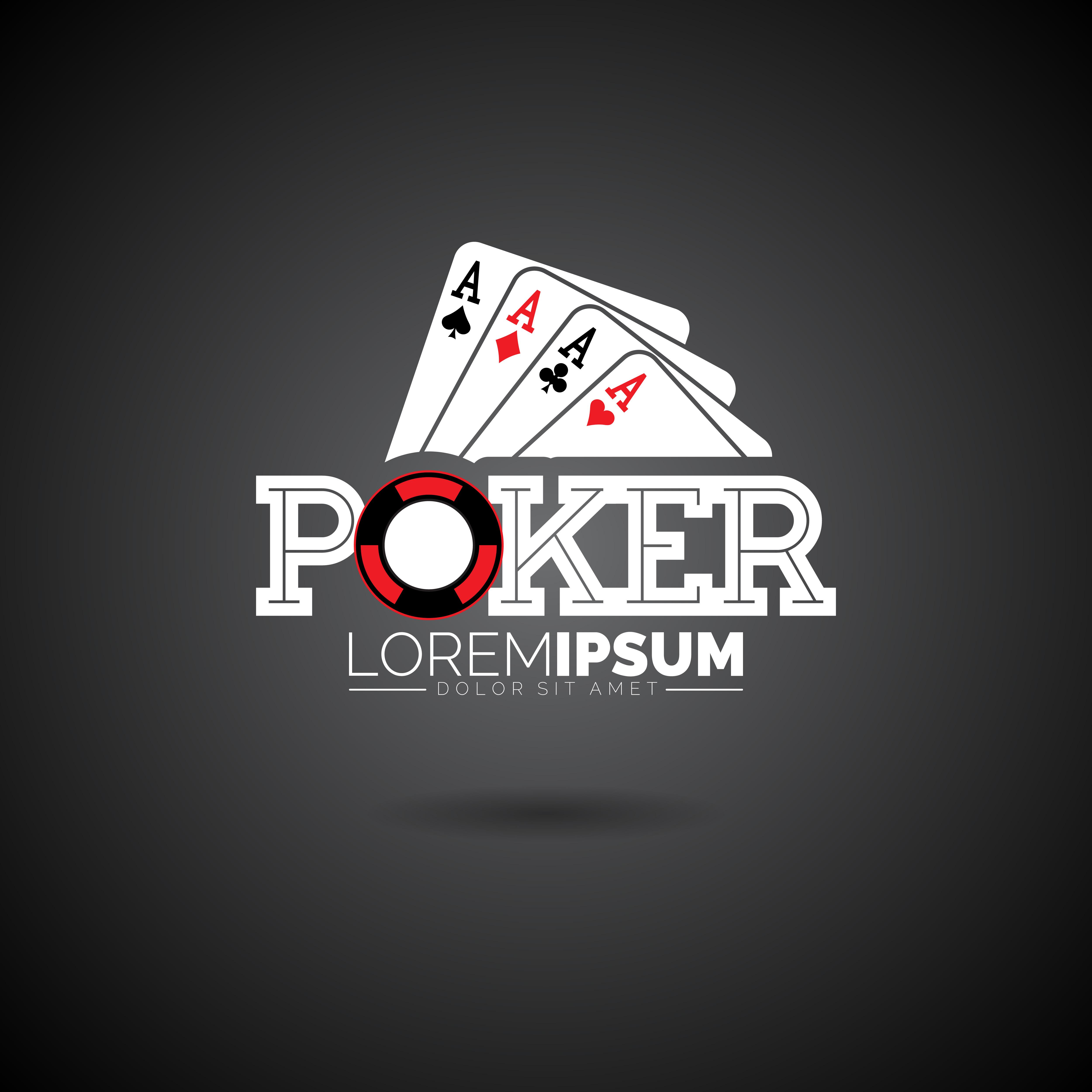 Vintage Logo Design: Vector Poker Logo Design Template With Gambling Elements