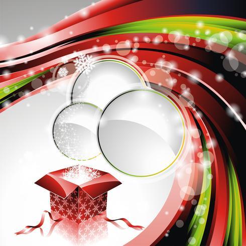 Vektor illustration på ett jul tema med presentförpackning och glänsande semesterelement