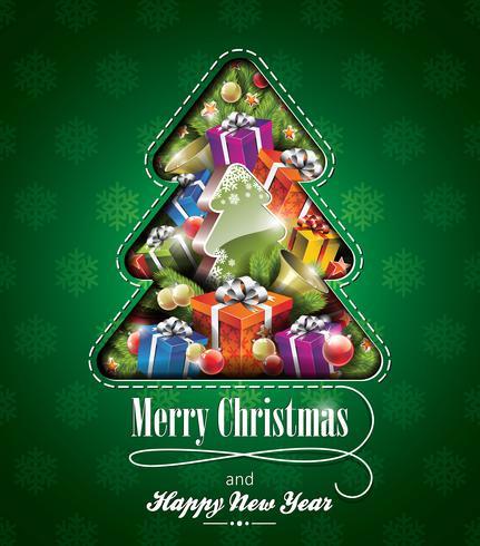 Vector Weihnachtsillustration mit abstrakten Baumdesign- und -feiertagselementen