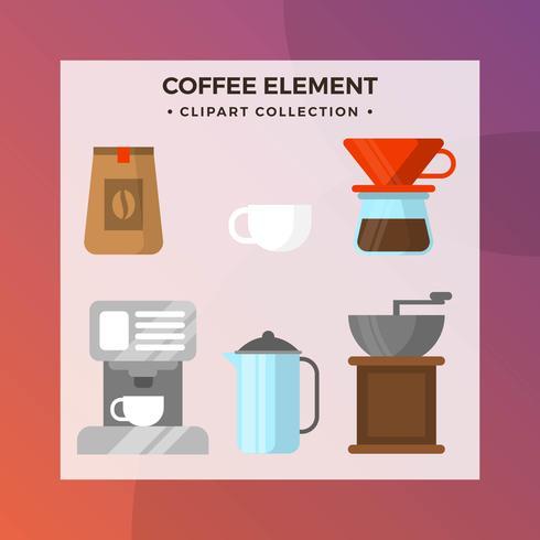Vlakke koffie Element Clipart collectie