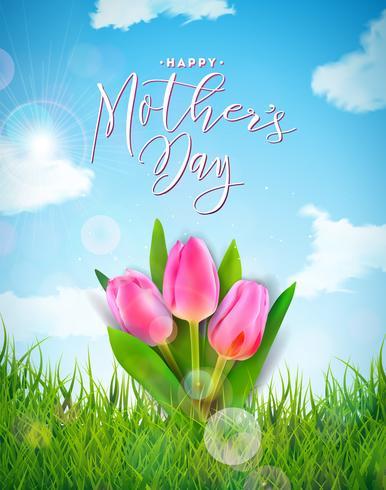 Tarjeta de felicitación feliz del día de madres con la flor del tulipán, la hierba verde y la nube en fondo del paisaje de la primavera. Plantilla de ilustración vectorial celebración