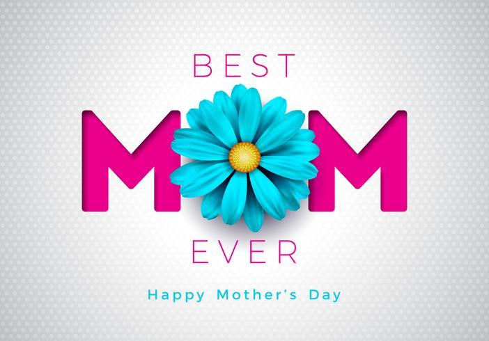 Lycklig mors dag hälsning kort illustration med blom och mamma typografisk design på vit bakgrund. Vektor firande illustration
