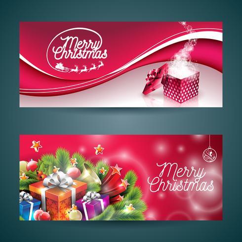 Vector el ejemplo de la bandera de la Feliz Navidad con la caja de regalo mágica y el diseño del día de fiesta