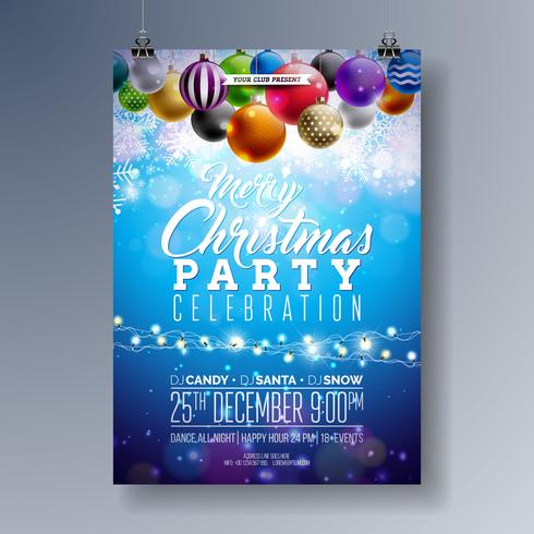 Merry Christmas Party Fliyer Design with Holiday Typography Elements and Multicolor Ornamental Balls on Shiny Background. Premium Vector Celebration Poster Illustration.