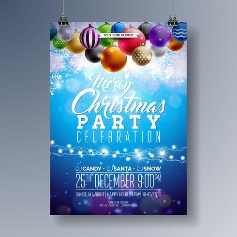 Joyeux Noël Party Fliyer Design avec des éléments de typographie de vacances et boules ornementales multicolores sur fond brillant. Illustration d'affiche de fête vecteur Premium.