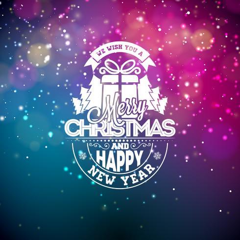 Vector Illustration auf einem Weihnachtsmotiv mit glühenden Lichtern und Typografie. Kreativer Feiertagsentwurf für Grußkarte.