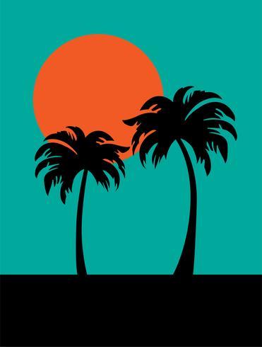 silhouette palmiers et soleil orange