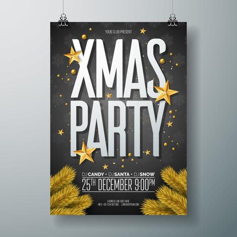 Vector el feliz ejemplo del aviador de la fiesta de Navidad con los elementos de la tipografía del día de fiesta y la bola ornamental del oro, estrella de papel del recorte en fondo negro. Diseño de carteles de celebración. EPS10.