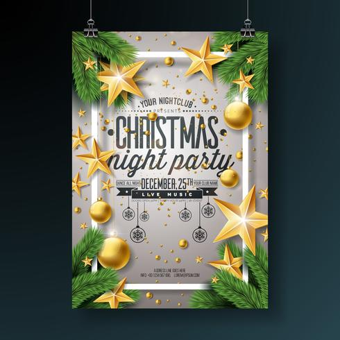 Vector Christmas Party Flygdesign med Holiday Typografi Elements and Ornamental Ball, Pine Branch på glänsande ljus bakgrund.