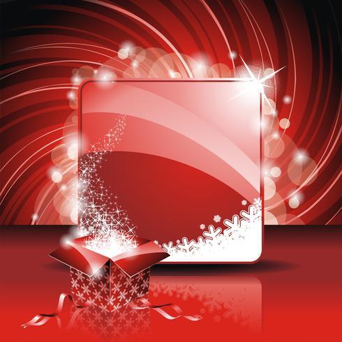 Illustration de Noël avec un coffret magique sur fond rouge