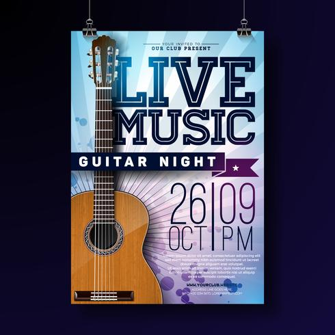 Live music flyer design with acoustic guitar on grunge background. Vector illustration template for invitation poster