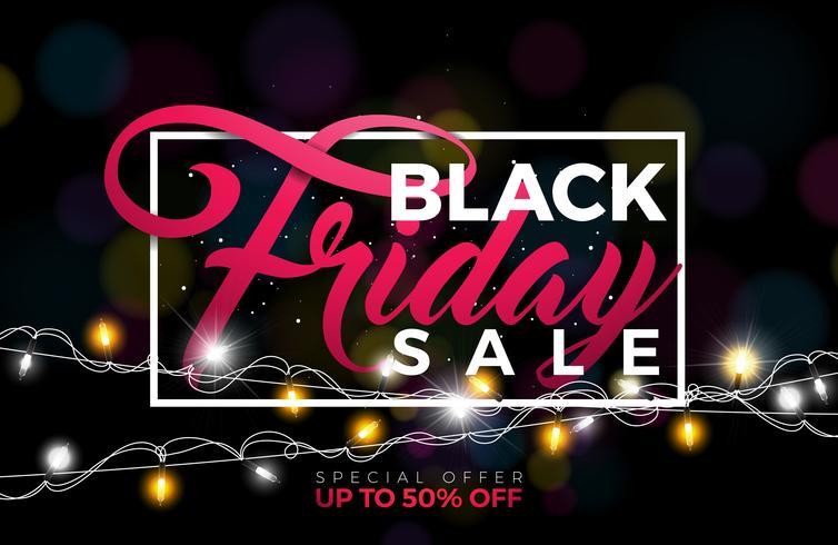 Ejemplo del vector de la venta de Black Friday con la guirnalda de la iluminación en fondo oscuro. Plantilla de diseño de promoción para banner o cartel.