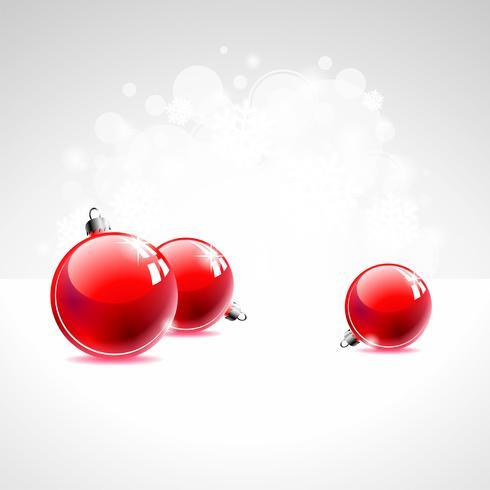 Feiertagsillustration mit roter Weihnachtskugel auf weißem Hintergrund.