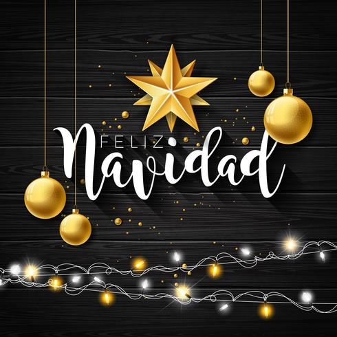 Christmas Illustration With Spanish Feliz Navidad Typography And Gold Cutout Paper Star Glass Ball On Black Vintage Wood Background Vector Holiday Design Download Free Vectors Clipart Graphics Vector Art