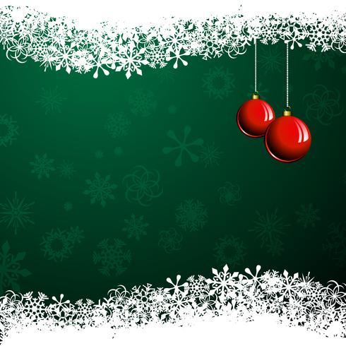 Christmas illustration with red ball on green background