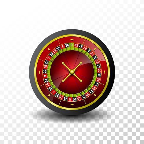 Casino Illustration med roulettehjul på transparent bakgrund. Vektor gambling design för inbjudan eller promo banner