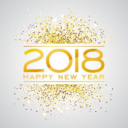 2018 Gelukkig Nieuwjaar achtergrond afbeelding met gouden Glitter typograph nummer. Vector vakantie ontwerp voor Premium wenskaart, uitnodiging voor feest of promotie banner.