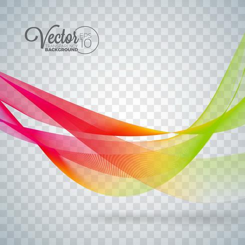 Elegant vector stromend kleurengolfontwerp op transparante achtergrond.
