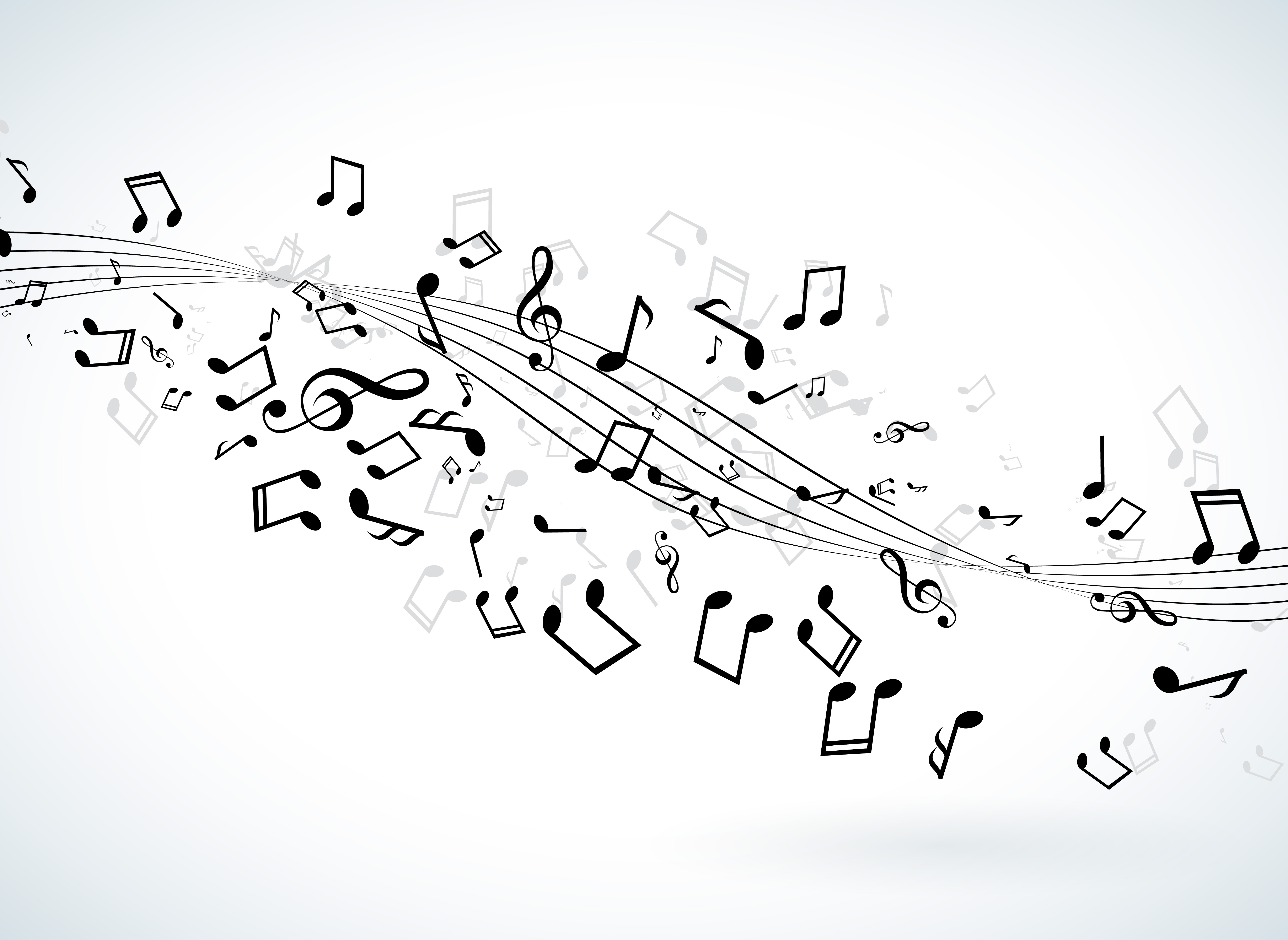 Music illustration with falling notes on white background ...