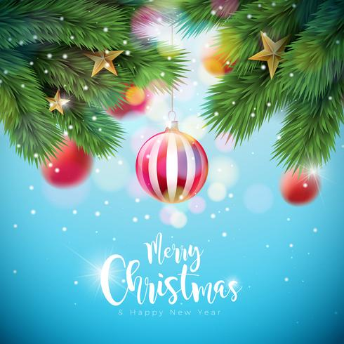 Vector el ejemplo de la Feliz Navidad con las bolas y la rama ornamentales del pino en fondo azul brillante. Feliz año nuevo diseño de tipografía para tarjeta de felicitación, cartel, banner.