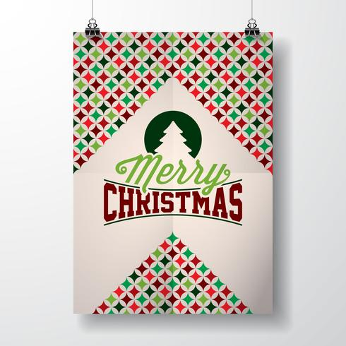 Vektor God jul helgdag illustration med typografisk design och abstrakt färg textur mönster på ren bakgrund.