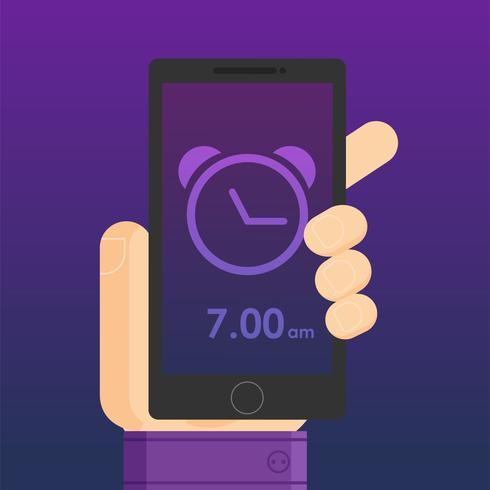 Una aplicación con un reloj y un despertador en la mano del hombre.