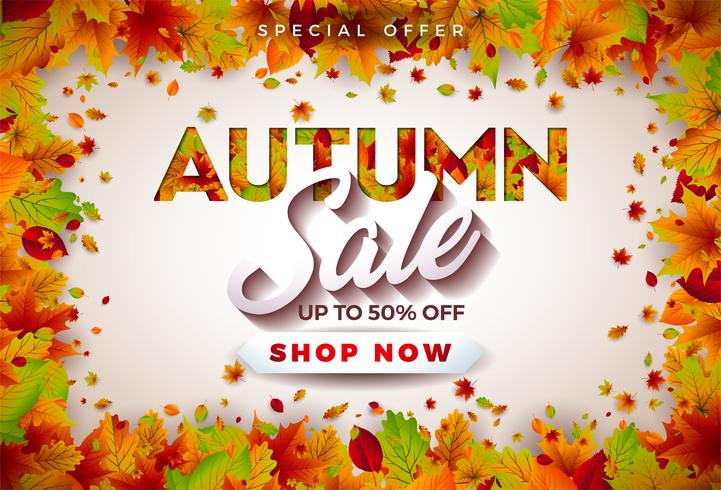 Autumn Sale Design with Falling Leaves and Lettering on White Background. Autumnal Vector Illustration with Special Offer Typography Elements for Coupon