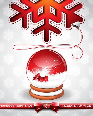 Vector a ilustração de Natal com globo de neve mágica e design tipográfico em fundo de flocos de neve.