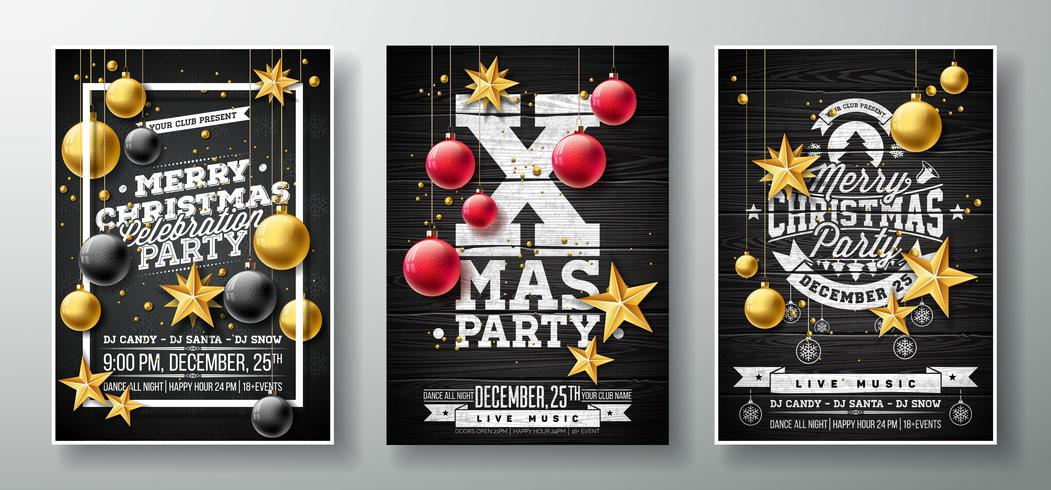 Vector Merry Christmas Party Flyer Illustration With Gold